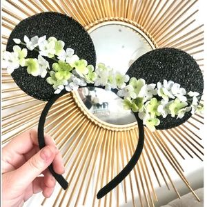 Black Floral Minnie Mouse Ears